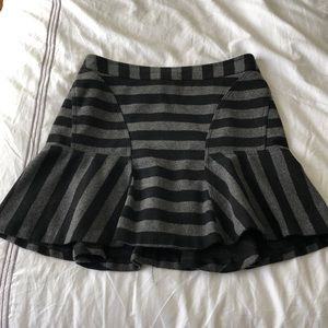 Gray & Black Striped Skater Skirt
